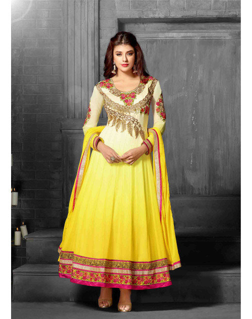 Yellow Cream Semi Stitch Salwar Kamiz