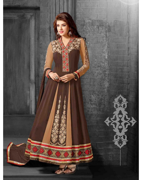 Brown Semi Stitch Salwar Kamiz