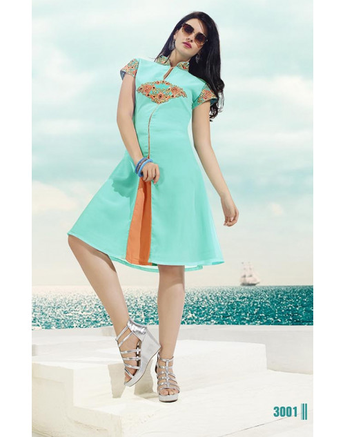 Light SkyBlue Georgette Kurti