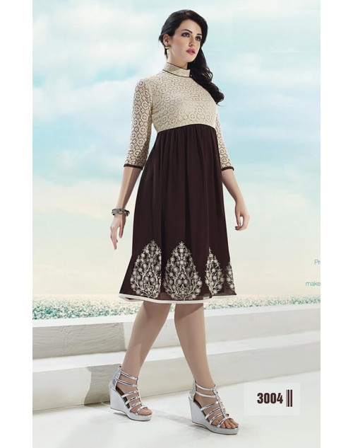White and Brown Georgette Kurti