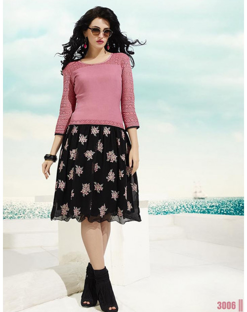 Pink and Black Georgette Kurti