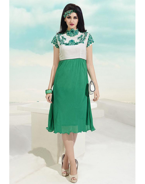 White and Green Georgette Kurtis