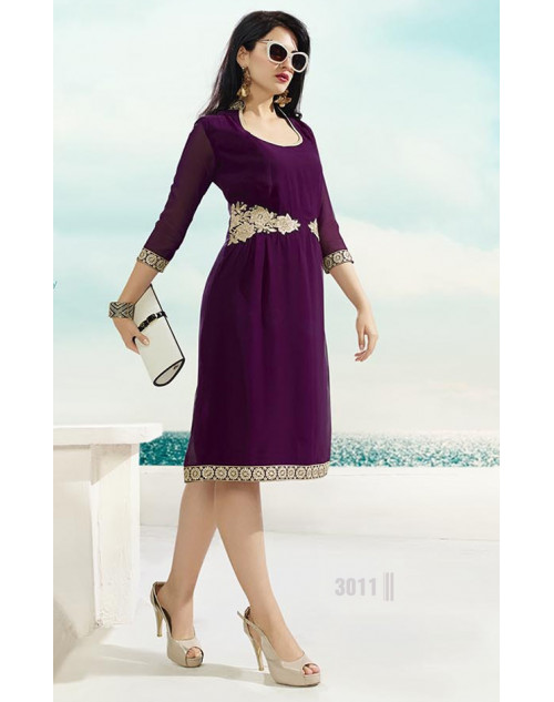 Purple Georgette Kurtis