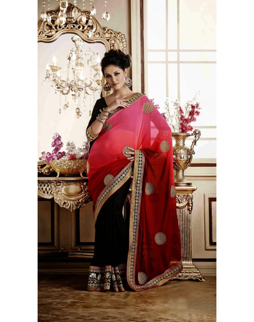 Red Georgette and Chiffon Saree