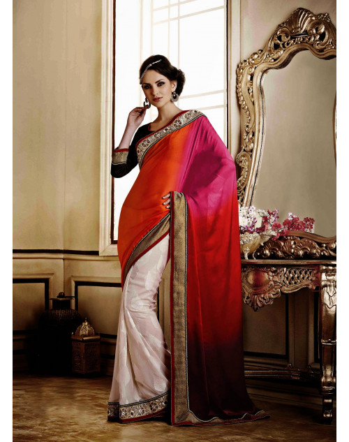 Orange Jacquard Saree