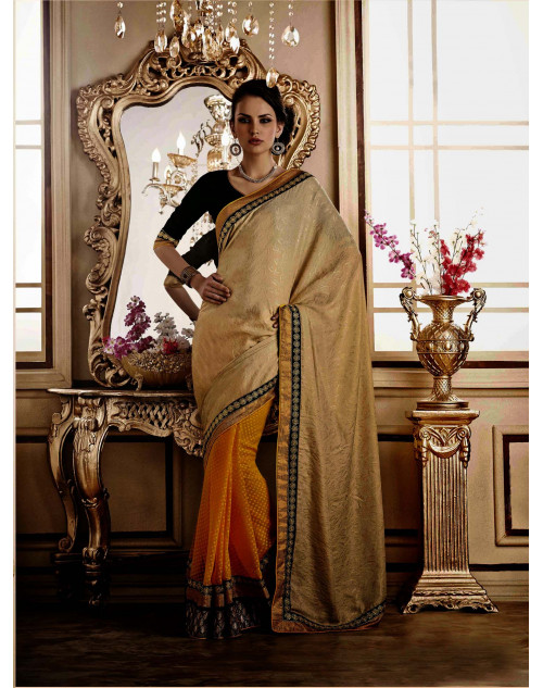 Cream Jacquard Saree