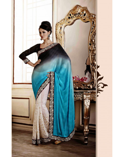 Blue Designer Georgette Saree