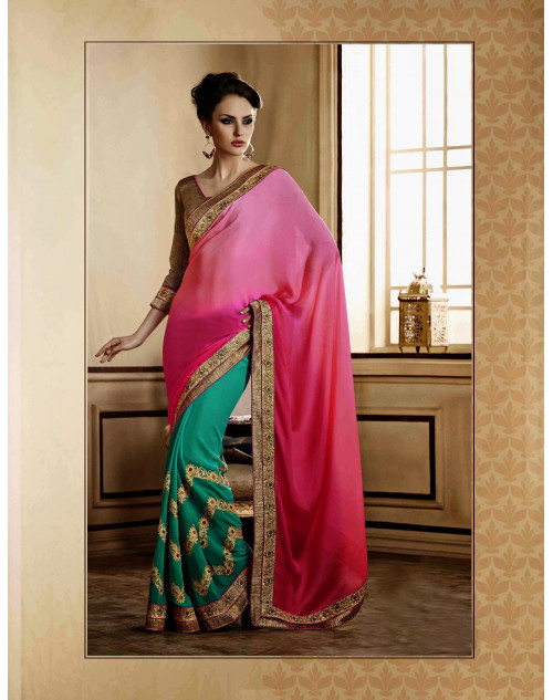 DeepPink Georgette Saree