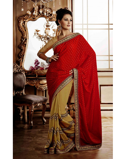 Red Georgette and Jacquard Saree