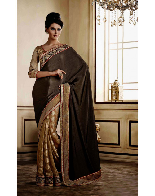 Grey Jacquard Saree