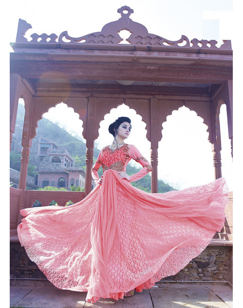 Light Pink Bollywood Gown
