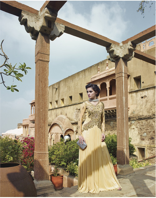 Wheat Bollywood Gown