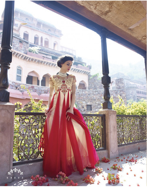 White and Red Bollywood Gown