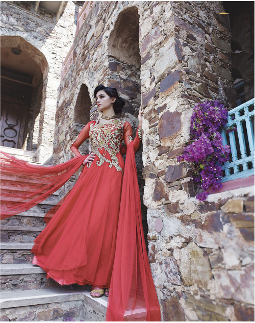 Red Bollywood Gown
