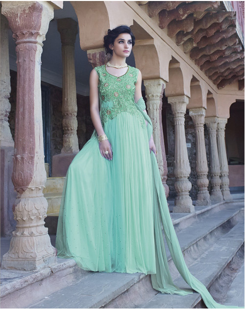 Cyan Bollywood Gown