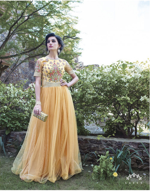 Canary Yellow Bollywood Gown