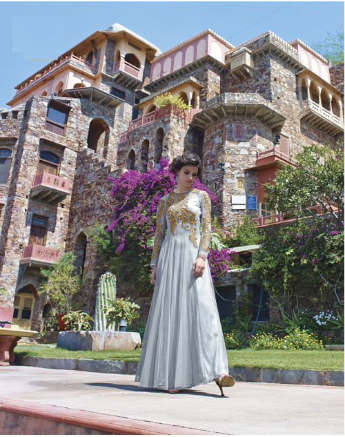 Light Gray Bollywood Gown