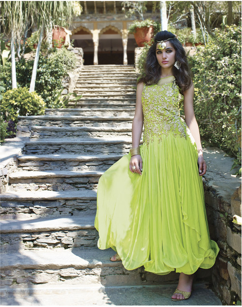 PaleGreen Bollywood Gown