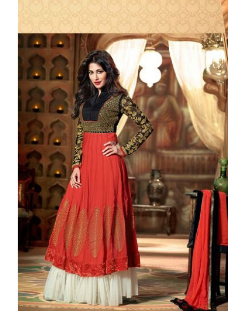 Chitrangada Singh Black and Red Readymade Suit