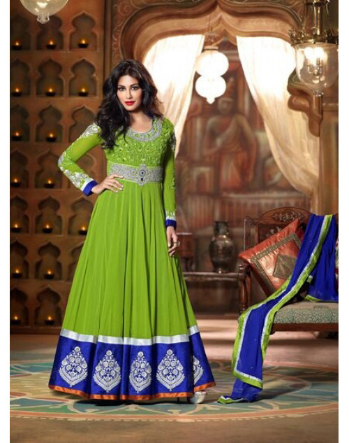 Chitrangada Singh Green and Blue Readymade Suit