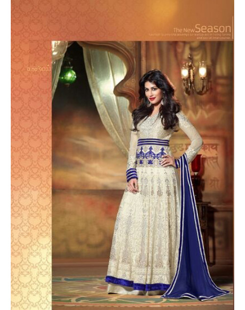 Chitrangada Singh White and Blue Readymade Suit