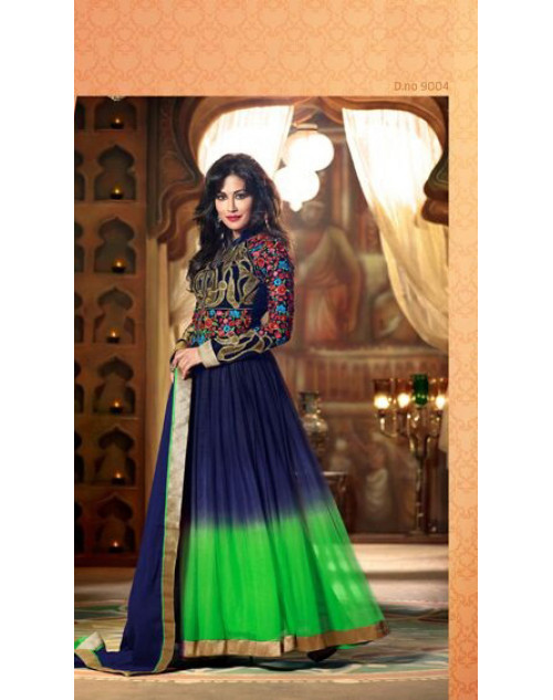 Chitrangada Singh Blue and Green Readymade Suit