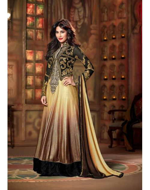Chitrangada Singh Golden and Brown Readymade Suit