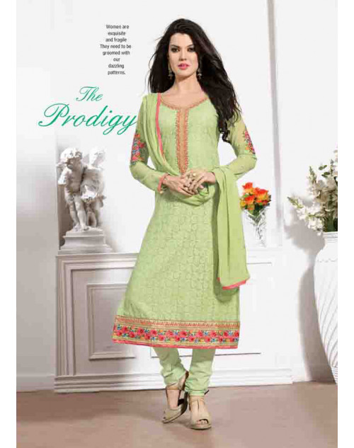 Sea Green Georgette Semi Stitched Salwar Kamiz