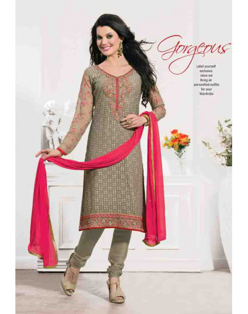 Grey Georgette Semi Stitched Salwar Kamiz