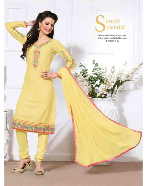 Yellow Georgette Semi Stitched Salwar Kamiz