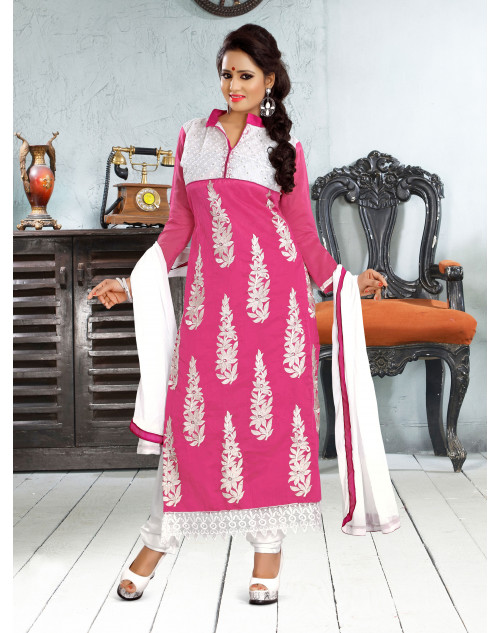 Pink Chanderi Cotton Dress Materials