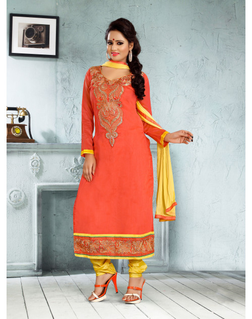 Orange Chanderi Cotton Dress Materials