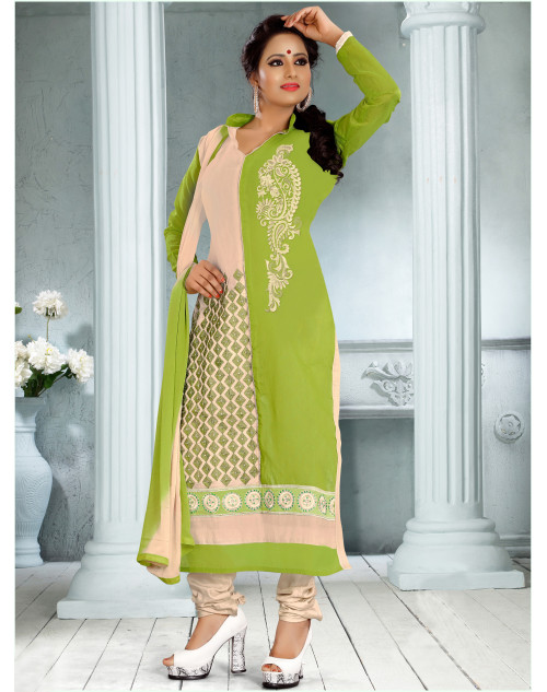 Mehndi and Cream Chanderi Cotton Dress Materials