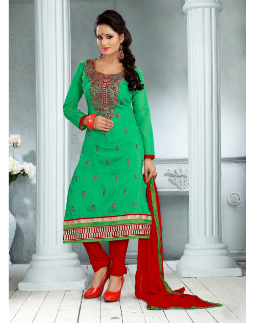 Green Chanderi Cotton Dress Materials