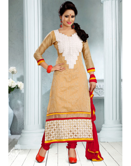 Cream Chanderi Cotton Dress Materials
