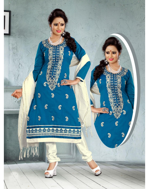 Blue Chanderi Cotton Dress Materials