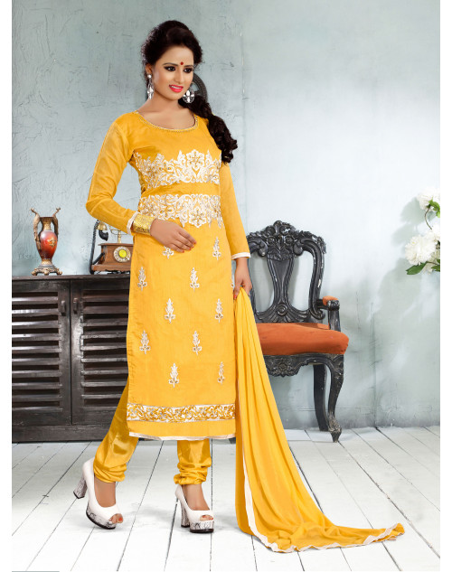 Yellow Chanderi Cotton Dress Materials