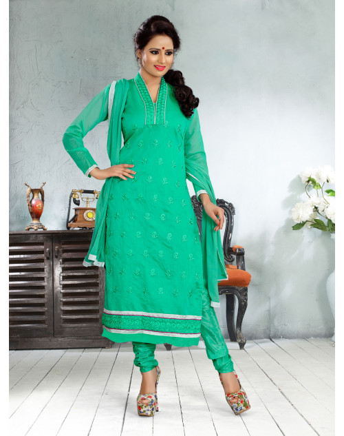 Green Chanderi Cotton Dress Material