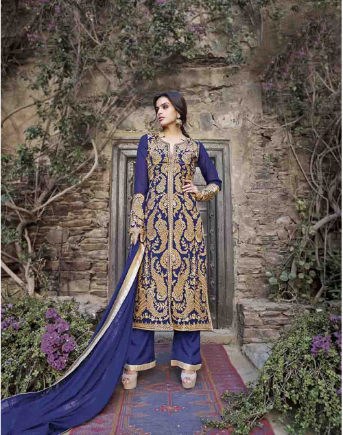 Grey Semi Stitched Salwar Kamiz
