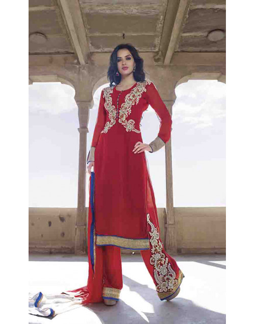 Red Semi Stitched Salwar Kamiz