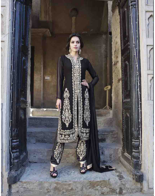 Black Semi Stitched Salwar Kamiz