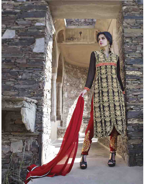 Black Semi Stitch Salwar Kamiz