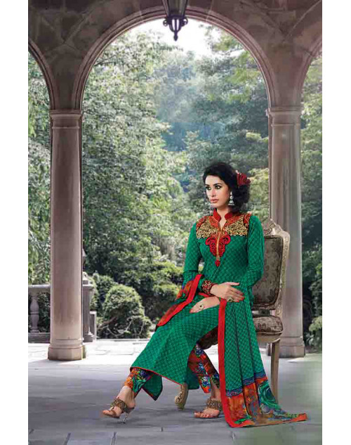Green Cotton Unstitch Salwar Kamiz