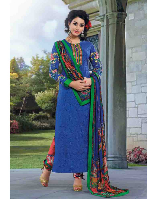 Blue Cotton Unstitch Salwar Kamiz