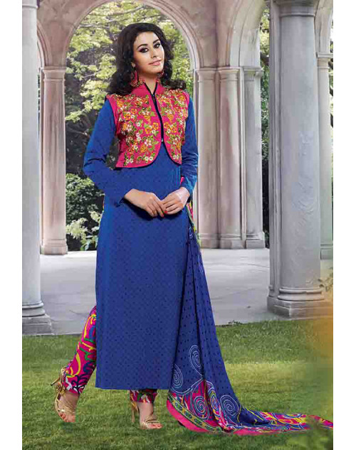 Blue Cotton Unstitched Salwar Kamiz