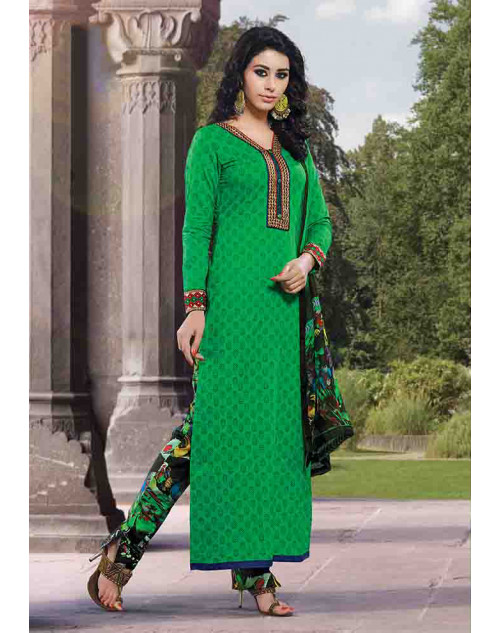 Green Cotton Un-stitch Salwar Kamiz