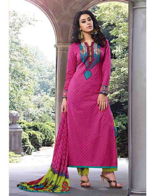Pink Cotton Unstitch Salwar Kamiz