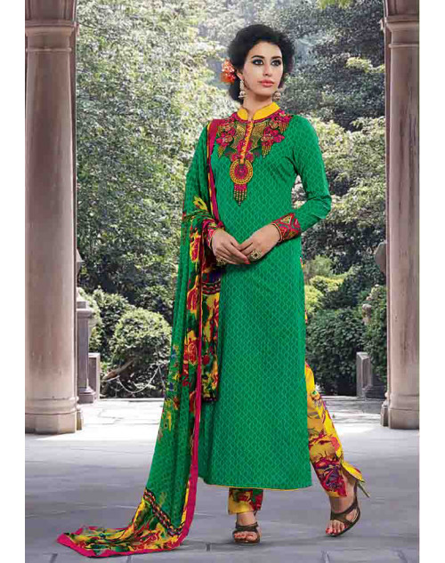 Green Cotton Unstitched Salwar Kamiz