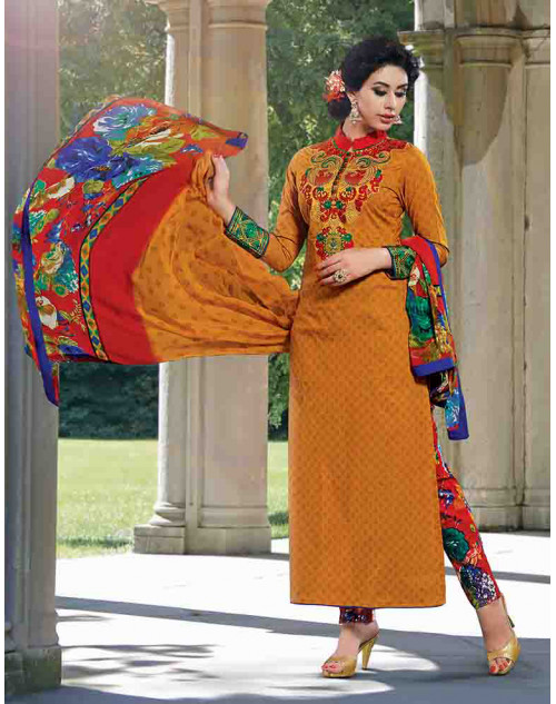 Yellow Cotton Unstitch Salwar Kamiz