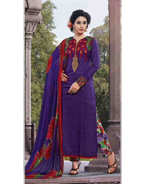 Navy Cotton Unstitch Salwar Kamiz